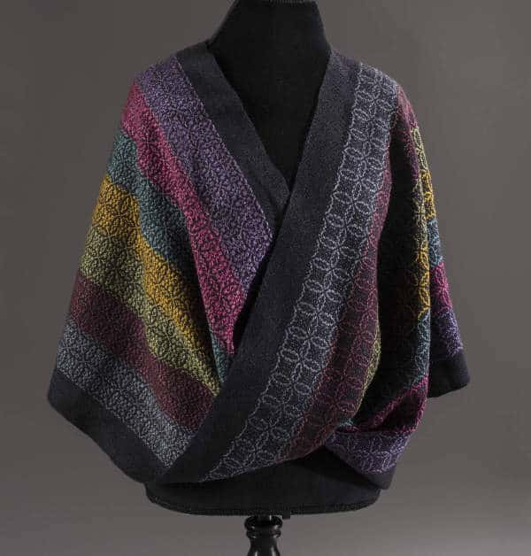 shawl with multicolored stripes is an example of supplemental warp